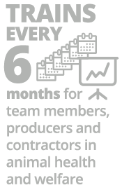 Trains every 6 months for team members, producers and contractors in animal health and welfare